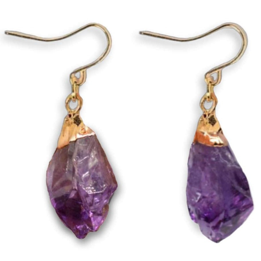 Natural Raw Amethyst Dangling Earrings, Gold Dipped Amethyst Set with Matching Pendant - Magic Crystals - Earrings