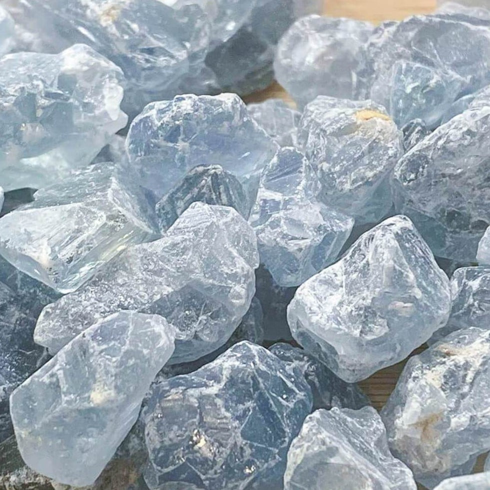 Looking for Celestite Raw Stone - Celestite Rough Crystal - Celestite Chips Stone? Magiccrystals.com carries genuine Celestite from Madagascar. Natural, pale icy blue Celestite with FREE SHIPPING available