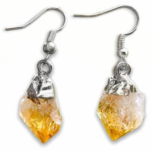 Load image into Gallery viewer, Check out our CITRINE Earrings - Birthstone, Raw Stone Jewelry, Dangle Earrings, Healing Crystals, Silver Earrings when you shop at Magic Crystals. What is Citrine? Citrine is a mineral, member of the Quartz family. Citrine Crystal meaning is ABUNDANCE and MOTIVATION. Citrine stone benefits and more.