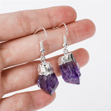 Load image into Gallery viewer, Shop for beautiful Natural Raw Amethyst Dangling Earrings, Silver Dipped with Matching Pendant. Excellent choice for women. available with FREE SHIPPING and in gold. Find a Gold Amethyst Necklace or Silver Amethyst Necklace when you shop at Magic Crystals. February birthstone.