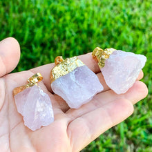 Load image into Gallery viewer, Raw Rose Quartz pedant necklace Rough rose quartz - Magic Crystals - Stone necklace