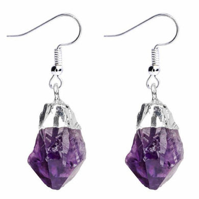 Shop for beautiful Natural Raw Amethyst Dangling Earrings, Silver Dipped with Matching Pendant. Excellent choice for women. available with FREE SHIPPING and in gold. Find a Gold Amethyst Necklace or Silver Amethyst Necklace when you shop at Magic Crystals. February birthstone.