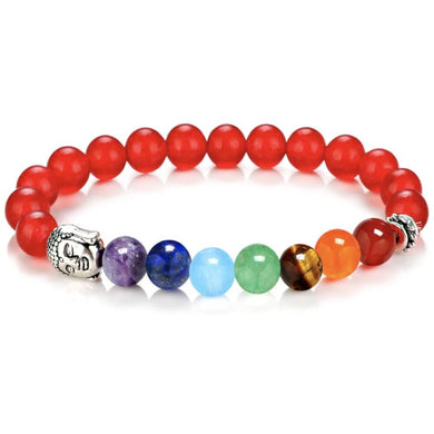 Red Agate Chakras Buddha Bracelet - Red Agate Jewelry - Magic Crystals