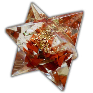 Red Jasper Orgone Merkaba helps against EMF and haarp radiations in our environment. Sacred light within this Orgonite Resin Merkaba Star.  MagicCrystals.com carries Merkaba filled with healing crystal. Merkaba Symbol – Sacred Geometry. Merkaba, also spelled Merkabah, translates literally to light, spirit, body.