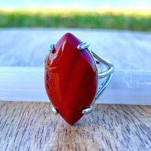 Load image into Gallery viewer, Looking for a Red Jasper Stone Ring and Natural Red Jasper Jewelry? Find a authentic Red Jasper ring when you shop at Magic Crystals. Natural Red Jasper Crystal Healing ring. Red jasper properties meaning regarded as a gemstone that gives a sense of well-being, intensifying that feeling. Shop at www.magiccrystals.com