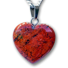 Load image into Gallery viewer, Check out our Red Jasper Stone Necklace and Pendant selection for the very best in unique or custom, handmade Red jasper pieces. Get the best deals on Natural Red Stone and Gemstone Heart shape Necklaces with Free Shipping Available on Magic Crystals Pendientes en forma de corazon de Jaspe rojo.