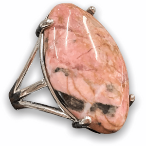 Pink Stone Ring. Shop for Natural Rhodonite Stone ring and Rhodonite Jewelry at MagicCrystals.Com help to encourage healing. Rhodonite rings. Rhodonite is a stone of compassion, an emotional balancer that clears away emotional wounds and scars from the past, and that nurtures love. It stimulates, clears and activates the heart.