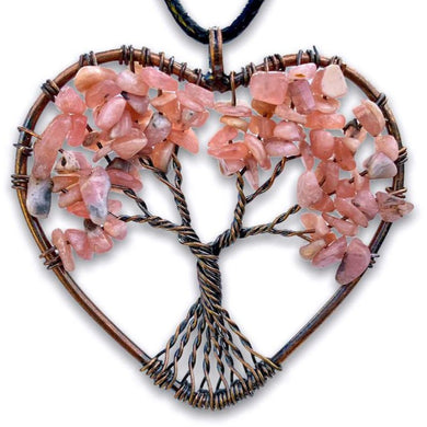 Rhodochrosite Stone - Tree of Life Copper Heart Pendant Necklace - Magic Crystals - copper necklace