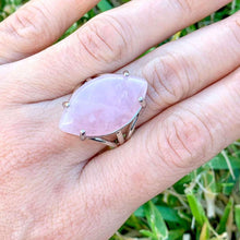 "Load image into Gallery viewer, Pink Stone ring. Pink Jewelry. Rose Quartz Stone Ring and Natural Rose Quartz Jewelry at Magiccrystals.com . Rose Quartz rings help to encourage healing. Rose Quartz rings. Rose quartz is often called the ""Love Stone."" It's energetic hallmark is that of unconditional love that opens the heart chakra."