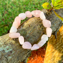 Load image into Gallery viewer, Looking for Rose Quartz Tumbled Stone Bracelet? Shop at Magic Crystals for Rose Quartz Jewelry,  handmade Jewelry, Bracelets, Beaded Bracelets , tumbled stone gems, elastic gem bracelet and stretchy bracelet with FREE SHIPPING available. Rose Quartz is the stone of universal and unconditional love.