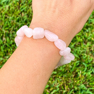 Looking for Rose Quartz Tumbled Stone Bracelet? Shop at Magic Crystals for Rose Quartz Jewelry,  handmade Jewelry, Bracelets, Beaded Bracelets , tumbled stone gems, elastic gem bracelet and stretchy bracelet with FREE SHIPPING available. Rose Quartz is the stone of universal and unconditional love.