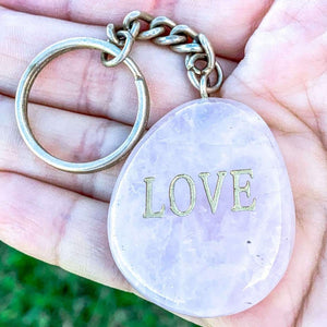 Rose Quartz Tumbled Stone Keychain - Crystal Keychain - Magic Crystals
