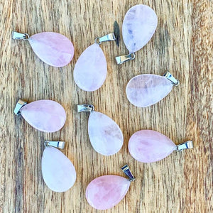 Rose Quartz Drop Pendant - Crystal Gemstone Jewelry  - Magic Crystals - Necklaces - Drop Necklaces - Gemstone pendant
