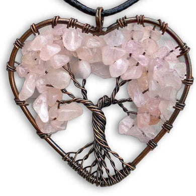 Rose Quartz Stone - Tree of LifeHeart Pendant Necklace Magic Crystals - copper necklace