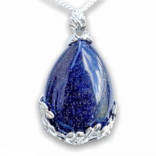 Load image into Gallery viewer, Blue Goldstone Gemstone Tear Drop Flower Necklace-NECKLACES-Magic Crystals