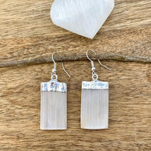 Load image into Gallery viewer, Did you scroll all this way to get facts about selenite? Selenite is like liquid light. Shop for Selenite Crystal Earrings - Raw Crystal Earrings - Selenite Stone Earrings - Wife Gift For Her - Selenite Jewelry in Magic crystals. Beautiful purification crystal set in silver. FREE SHIPPING available.