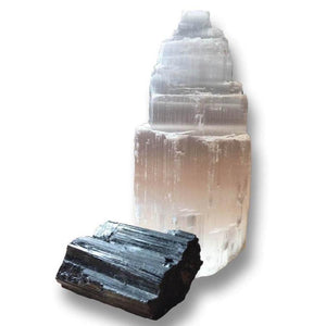 Looking for protection stones? Shop at Magic Crystals for the perfect  Protection Bundle. Raw Selenite Tower and Black Tourmaline Raw help you CLEARING • PROTECTION • SHIELDING your sacred space. Whether it is your home or office. Selenite activates the third eye and Black Tourmaline is meditation crystals.