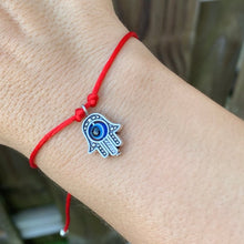Load image into Gallery viewer, SILVER HAMSA RED STRING BRACELET. Check out our protection selection for the best in unique or custom, handmade pieces from our red string  bracelets collection. Famita hand (Hamsa) bracelets for protection. protection for sisters. Friendship Bracelets, Red Bracelets for couples. Red Rope Bracelets, Mano de fatima.