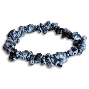 Snowflake Obsidian Raw Bracelet - Obsidian Jewelry - Magic Crystals