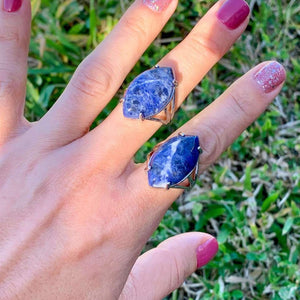 Blue Stone ring. Blue Jewelry. Sodalite Stone Ring and Natural Sodalite Jewelry at Magiccrystals.com . Sodalite encourages being true to self and standing up for your beliefs. FREE SHIPPING available.