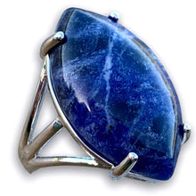 Load image into Gallery viewer, Blue Stone ring. Blue Jewelry. Sodalite Stone Ring and Natural Sodalite Jewelry at Magiccrystals.com . Sodalite encourages being true to self and standing up for your beliefs. FREE SHIPPING available.