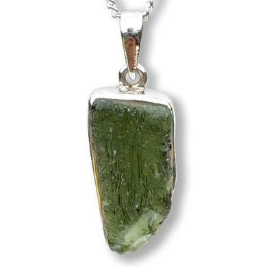 Authentic Moldavite Meteorite Gemstone Sterling Silver Necklace - Magic Crystals