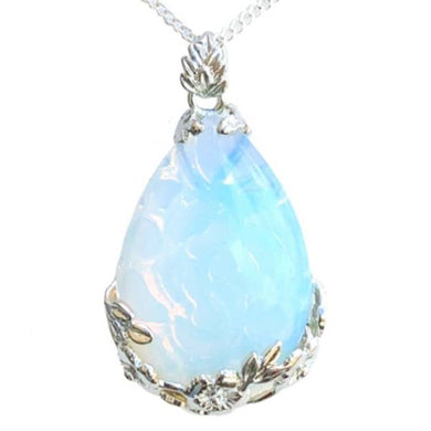 Opalite Stone Handmade Tear Drop Flower Necklace-NECKLACES-Magic Crystals
