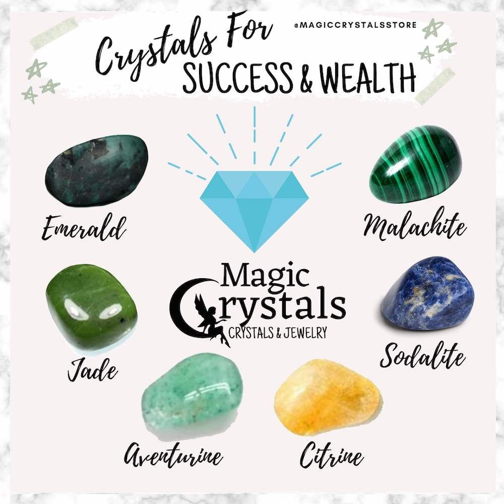 Shop for Success and Wealth Crystal Set - Stones for money at Magic Crystals. Magiccrystals.com made up of several uniquely paired gemstones that resonate strongly with the energy and vibration of money, wealth, and abundance. FREE SHIPPING available.