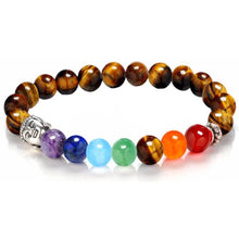 Load image into Gallery viewer, Yellow Tiger Eye 7 Chakra Buddha Bracelet-Bracelets-Magic Crystals