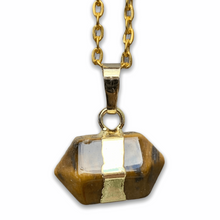 Load image into Gallery viewer, Looking for a tiger eye stone necklace? Find Tiger Eye Gold Stone Pendant Handmade Crystal Necklace at MagicCrystals.com .Natural mens tiger eye necklace. Yellow Tiger Eye Necklace Tiger eye pendant, gold tiger eye pendant, silver tiger eye pendant available when you shop at magic crystals. Tiger Eye crystal necklace.