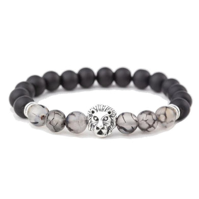 Black Onyx Stone & Tourmalinated quartz Gemstone - Lion Bracelet - Magic crystals