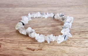 Tourmalinated Quartz - Tourmalated Quartz Stone Natural Raw Bracelet