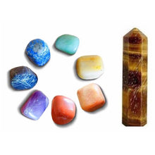 Load image into Gallery viewer, Shop at Magic crystals for 7 Chakra Stones + Tiger Eye Point Bundle Kit. Gemstone Crystal Healing Kit, includes 8 items: Single Point Carnelian, and 7 Chakras Stone Set: (Red Jasper Stone, Peach Aventurine Stone, Golden Quartz, Green Aventurine Stone, Lapis Lazuli Stone, Iolite Stone, Amethyst Stone).