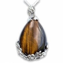 Load image into Gallery viewer, Yellow Tiger Eye Stone Handmade Tear Drop Flower Necklace-NECKLACES-Magic Crystals