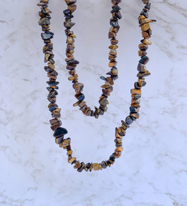 Tiger Eye Stone Genuine Gemstone Chip Necklace-NECKLACES-Magic Crystals