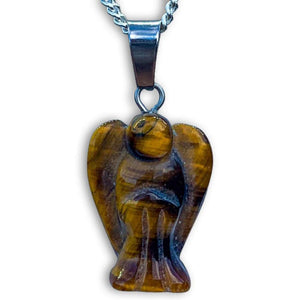Tiger Eye stone Angel Pendant Necklace - Magic crystals