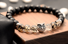 Load image into Gallery viewer, Black Onyx Stone & Black Tourmalinated quartz Gemstone Owl Bracelet - Magic Crystals - Owl Bracelet