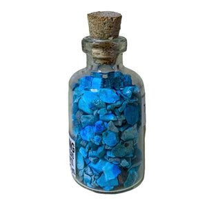 turquoise pieces in bottles, turquoise small glass bottle. Gemstone Crystal Bottle - Stone Bottle Set - Gemstone Chips - Tarot Gemstone Bottle, Crystal Gemstone Bottle - gemstone crystal chips. The listing is for one Crystal Bottle. Crystals included Peridot, Blue Topaz, Carnelian, Turquoise, Moonstone, Rose Quartz, Tigers Eye, Quartz, Amethyst, Aventurine, Garnet, Citrine.