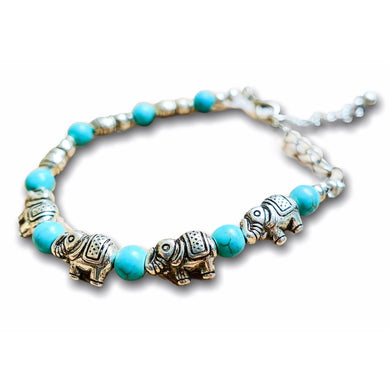 Turquoise Stone Elephant Bracelet - Turquoise Jewelry - Magic Crystals