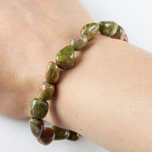 Load image into Gallery viewer, Unakite Stone Tumbled Bracelet - Unakite Jewelry - Magic CrystalsUnakite Bracelet. Looking for Unakite Stone Tumbled Bracelet? Shop for Unakite Jewelry at Magic Crystals. Jewelry, Bracelets, Beaded Bracelets, tumbled stone gems, elastic gem bracelet and stretchy bracelet with FREE SHIPPING available.
