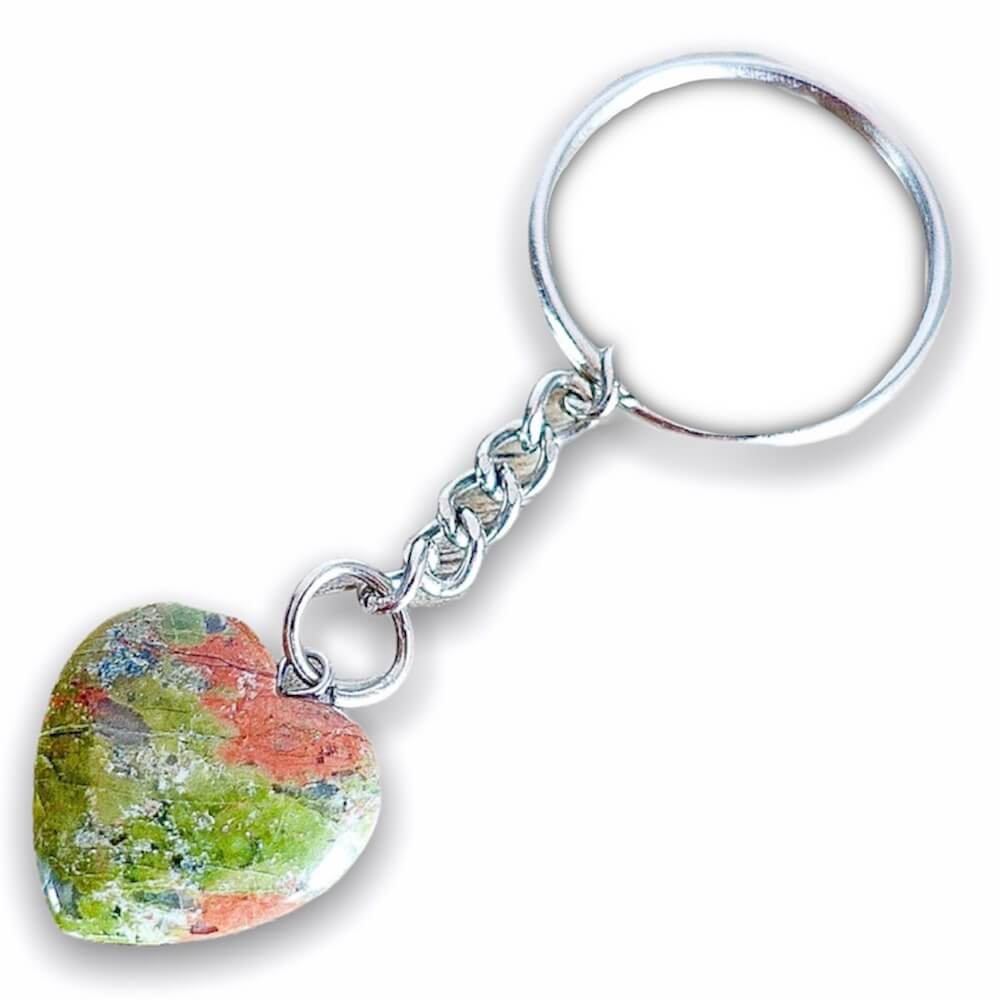 Unakite Keychain. Unakite is a stone of vision. Unakite helps finding balance through spirituality. Unakite Stone Heart Keychain - Crystal Keychains at Magic Crystals. Shop with free shipping available. We carry a wide variety of cat eyes keychains, gemstones, bracelets, earrings and handmade jewelry.