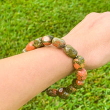 Load image into Gallery viewer, Unakite Bracelet. Looking for Unakite Stone Tumbled Bracelet? Shop for Unakite Jewelry at Magic Crystals. Jewelry, Bracelets, Beaded Bracelets, tumbled stone gems, elastic gem bracelet and stretchy bracelet with FREE SHIPPING available.