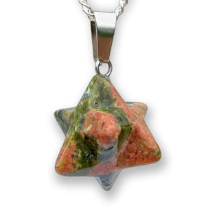 Shop for Unakite Stone Star of David pendant. Estrella de David Merkaba Necklace. Unakite Stone Star Of David Shape Healing necklace Online. Merkaba Star handcrafted made of Unakite Stone. Buy online Healing Stones. Estrella colgante de piedra Unakite con collar esterlina plata forjada a mano por Magic Crystals