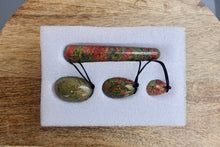Load image into Gallery viewer, Unakite Yoni Eggs Set and Massage Wand-YONI EGGS-Magic Crystals
