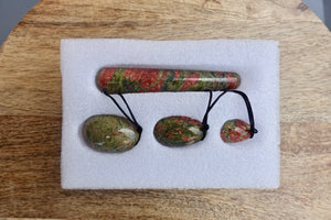 Unakite Yoni Eggs Set and Massage Wand-YONI EGGS-Magic Crystals