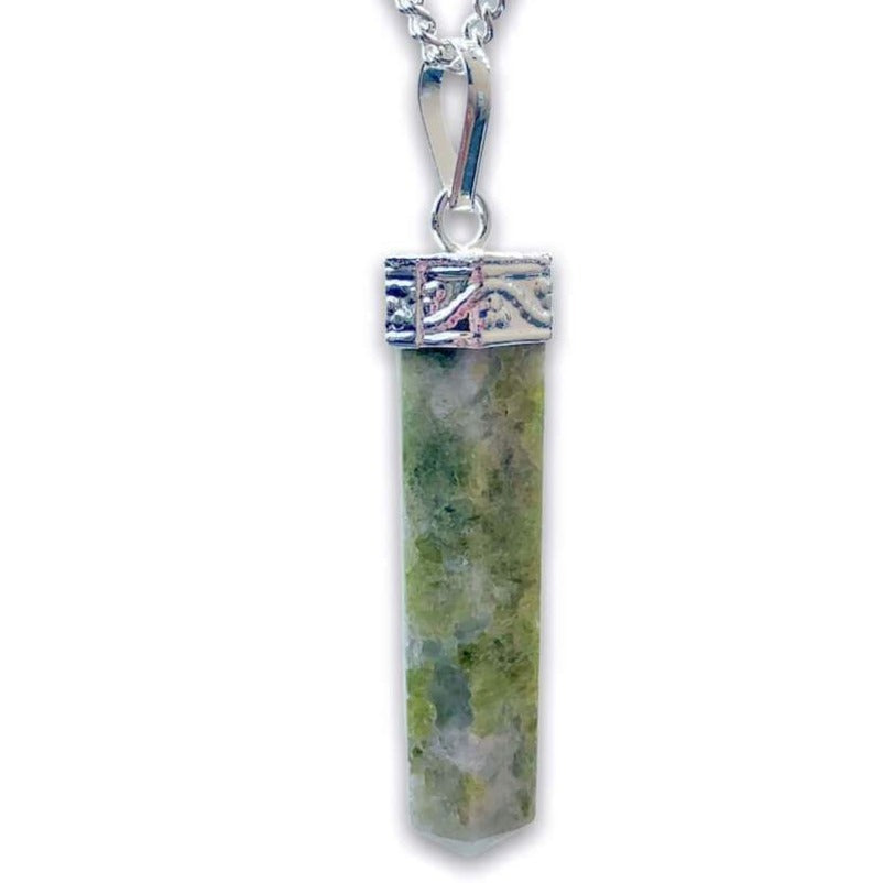 Looking for Vesuvianite Necklace - Vesuvianite Idocrase Jewelry ? Shop at Magic Crystals for genuine Vesuvianite Single Pointers, Vesuvianite Wands, Towers and more. These Vesuvianite obelisks hold a power all their own as they symbolize the ancient obelisks found in Egypt. Shop at magiccrystals.com
