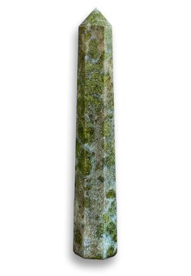 Looking for Vesuvianite Stone Obelisk, Vesuvianite Idocrase Tower? Shop at Magic Crystals for genuine Vesuvianite Single Pointers, Vesuvianite Wands and Towers. These Vesuvianite obelisks hold a power all their own as they symbolize the ancient obelisks found in Egypt. Shop at magiccrystals.com