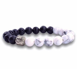 Howlite and Black Lava Buddha Bracelet - Lava Jewelry - Magic Crystals