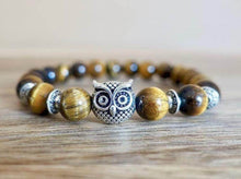 Load image into Gallery viewer, Yellow Tiger Eye Stone Handmade Owl Bracelet - Magic Crystals