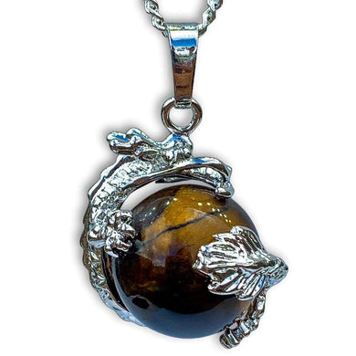 Yellow Tiger Eye Sphere Dragon Pendant Necklace - Dragon Necklace - Magic Crystals